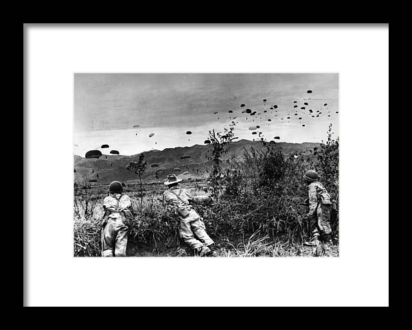Parachuting Framed Print featuring the photograph Indo China by Keystone