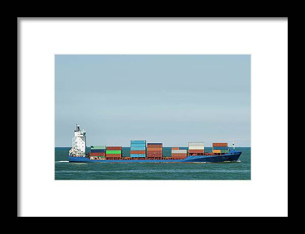 Freight Transportation Framed Print featuring the photograph Industrial Barge Carrying Containers by Mischa Keijser