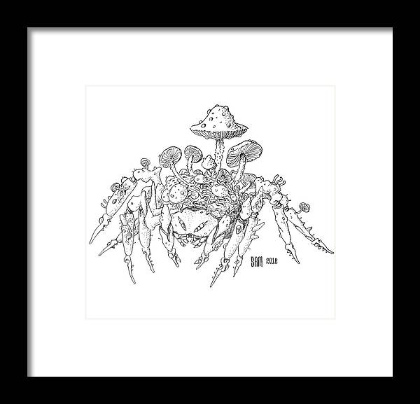 Spider Framed Print featuring the drawing Infested Spider by Sami Matilainen
