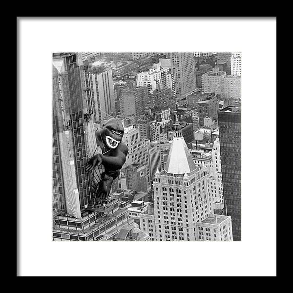 Vertical Framed Print featuring the photograph Inflatable King Kong On The Empire by New York Daily News Archive