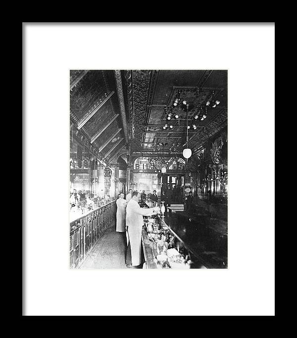Working Framed Print featuring the photograph Inside Hannah And Hoggs Saloon by Chicago History Museum