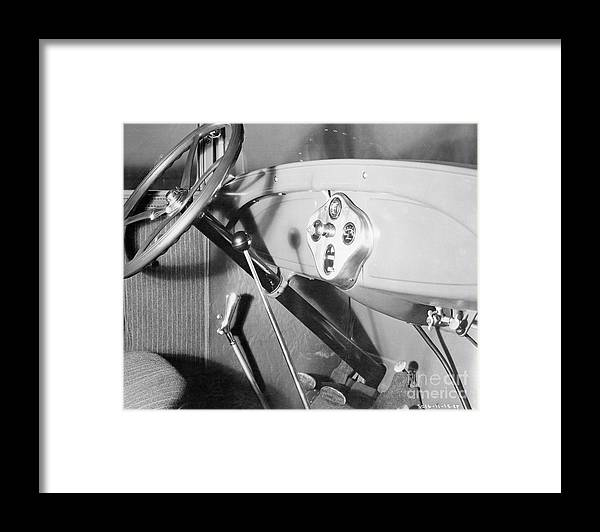 Finance And Economy Framed Print featuring the photograph Interior Of 1928 Ford Automobile by Bettmann