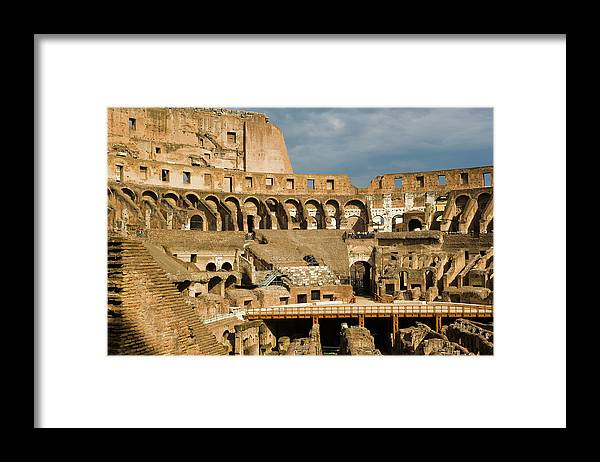 Arch Framed Print featuring the photograph Interior Of The Colosseum, Rome, Italy by Juan Silva