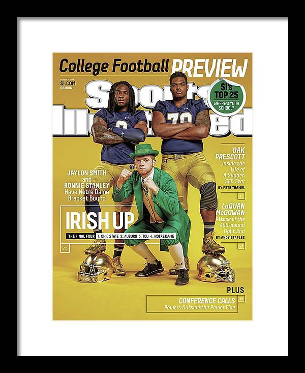 Magazine Cover Framed Print featuring the photograph Irish Up 2015 College Football Preview Issue Sports Illustrated Cover by Sports Illustrated