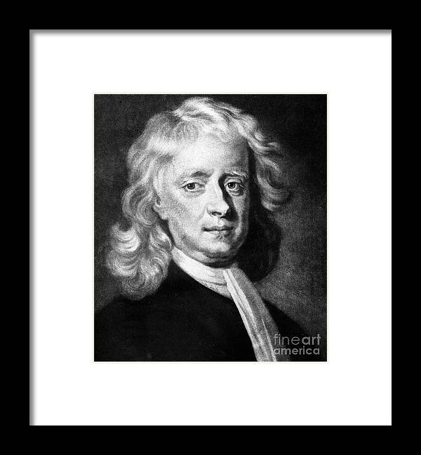 Physicist Framed Print featuring the drawing Isaac Newton 1642-1727, English by Print Collector