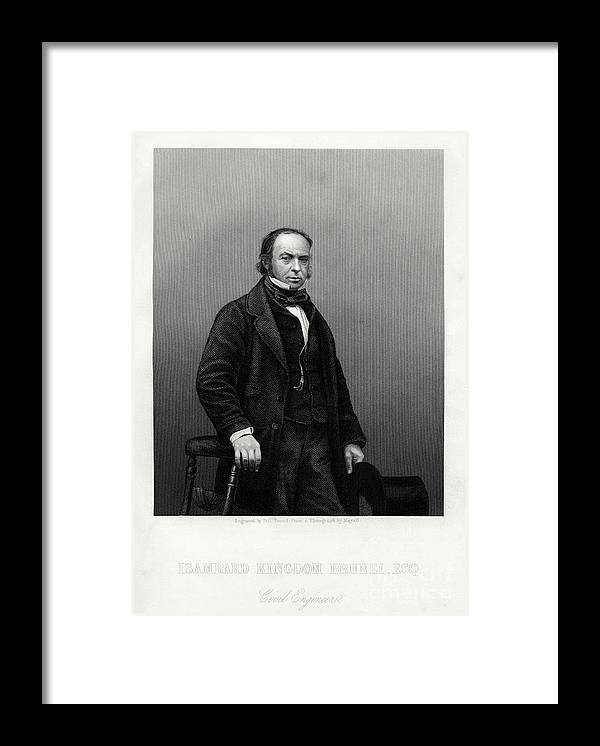 Engraving Framed Print featuring the drawing Isambard Kingdom Brunel, British by Print Collector