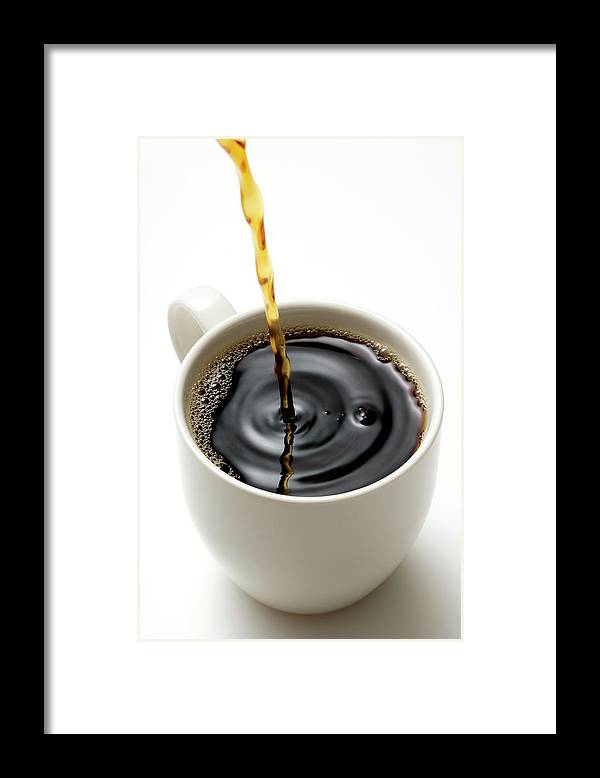 Breakfast Framed Print featuring the photograph Isolated Shot Of Pouring A Fresh Coffee by Kyoshino