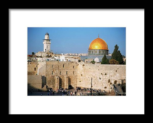 Dome Of The Rock Framed Print featuring the photograph Israel, Jerusalem, Western Wall And The by Medioimages/photodisc
