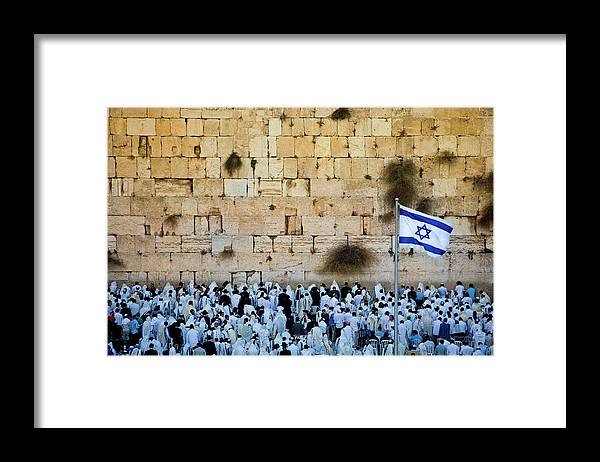 Crowd Framed Print featuring the photograph Israeli Flag Flies At The Western Wall by Gary S Chapman