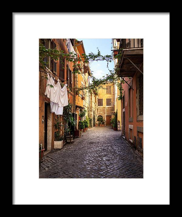Roman Framed Print featuring the photograph Italian Old Town Trastevere In Rome by Spooh