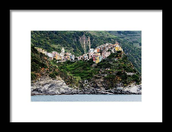 Town Framed Print featuring the photograph Italy, Liguria, Corniglia, View From by Jeremy Woodhouse