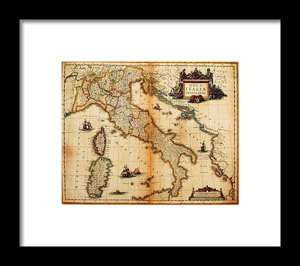 Engraving Framed Print featuring the digital art Italy Map 1635 by Nicoolay