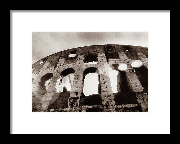 Roman Framed Print featuring the photograph Italy, Rome, The Colosseum, Low Angle by Carolyn Bross