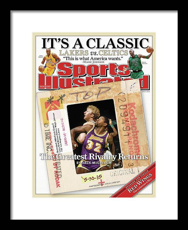 Magazine Cover Framed Print featuring the photograph Its A Classic, Lakers Vs. Celtics The Greatest Rivalry Sports Illustrated Cover by Sports Illustrated