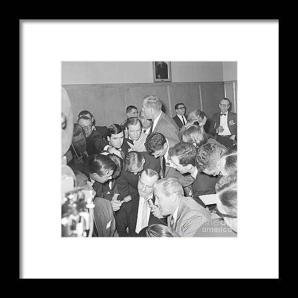People Framed Print featuring the photograph Jack Ruby With Lawyer Outside Court by Bettmann