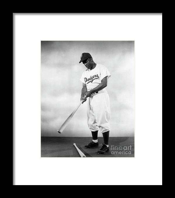 People Framed Print featuring the photograph Jackie Robinson Full Figure Portrait by Transcendental Graphics