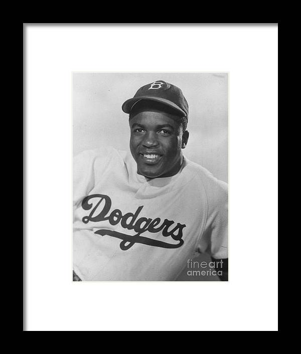People Framed Print featuring the photograph Jackie Robinson Happy Portrait 1949 by Transcendental Graphics