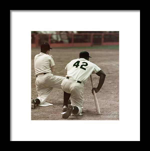 1950-1959 Framed Print featuring the photograph Jackie Robinson On Deck by Robert Riger