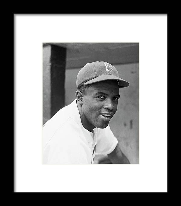 Baseball Cap Framed Print featuring the photograph Jackie Robinson Smiling by Bettmann