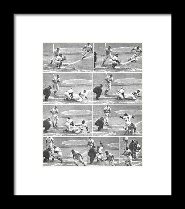 1950-1959 Framed Print featuring the photograph Jackie Robinson, With Two Out In The by New York Daily News Archive
