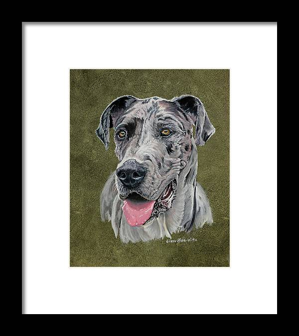Jaeger Great Dane Framed Print featuring the painting Jaeger Great Dane by Eileen Herb-witte