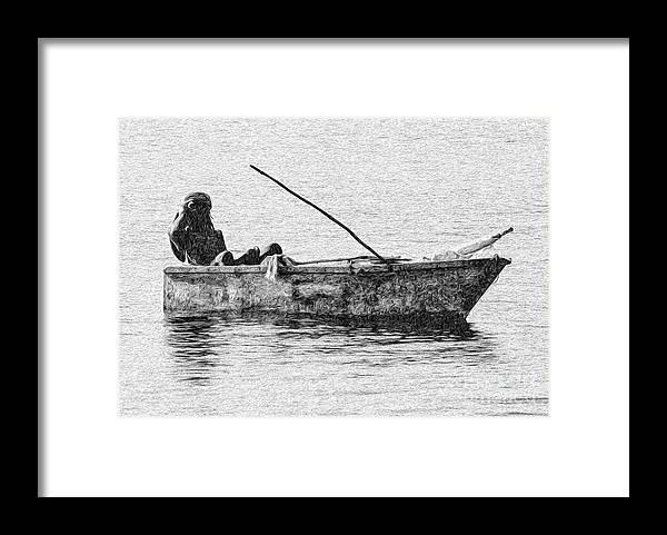 Ocho Rios Framed Print featuring the digital art Jamaican Fisherman in Ocho Rios Jamaica by Kenneth Montgomery