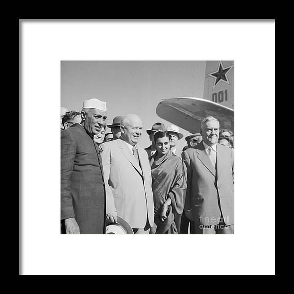 New Delhi Framed Print featuring the photograph Jawaharlal Nehru And Indira Gandhi by Bettmann