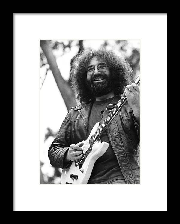 Music Framed Print featuring the photograph Jerry Garcia Performs Live by Richard Mccaffrey