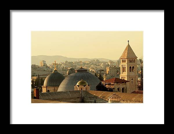 West Bank Framed Print featuring the photograph Jerusalem Churches On The Skyline by Picturejohn