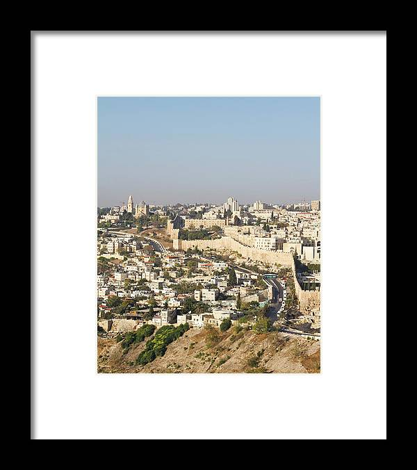 Built Structure Framed Print featuring the photograph Jerusalem City Wall From A Distance by Raquel Lonas