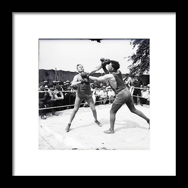 Crowd Of People Framed Print featuring the photograph Jess Willard With Walter Monahan by Bettmann