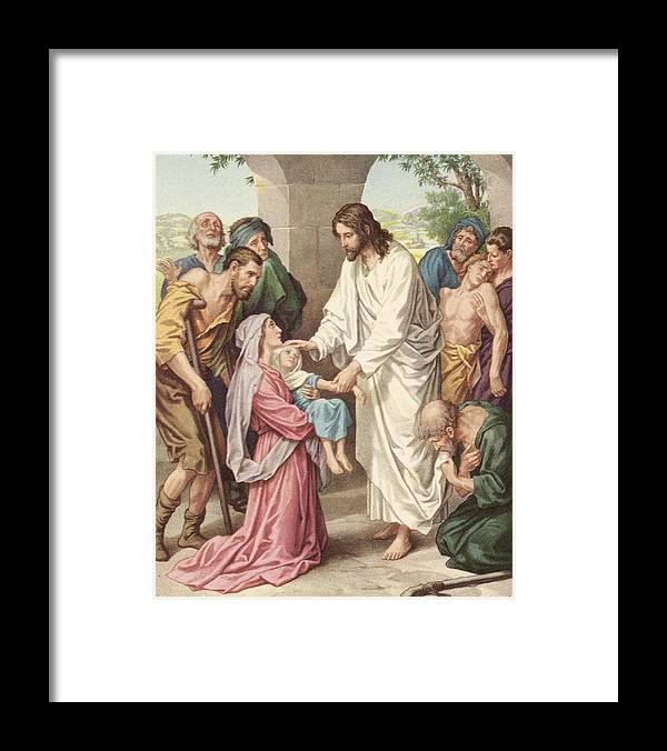 Engraving Framed Print featuring the photograph Jesus Healing The Sick by Kean Collection