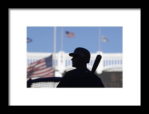 Event Framed Print featuring the photograph Jeter Takes Batting Practice by Ezra Shaw