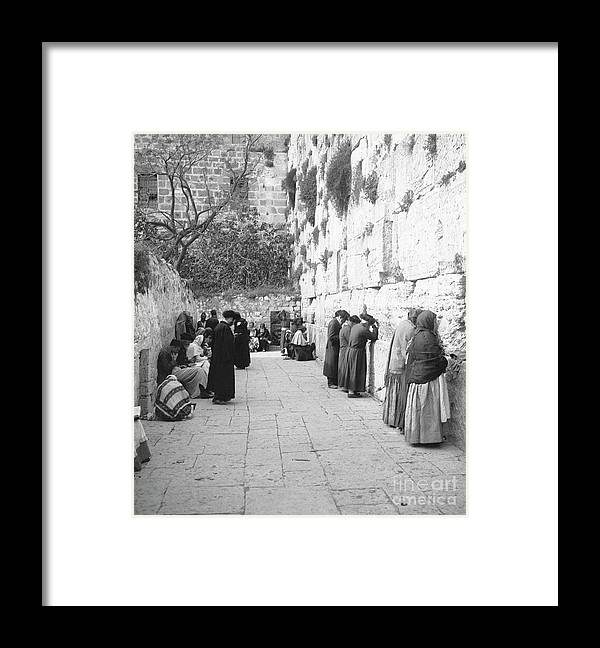 Palestinian Territories Framed Print featuring the photograph Jewish People At The Western Wall by Bettmann