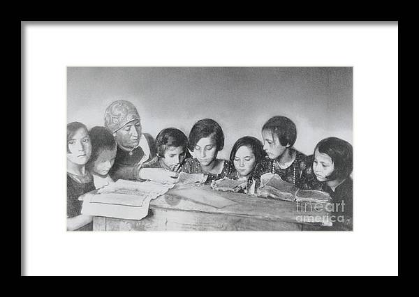 Education Framed Print featuring the photograph Jewish Teacher With Her Girl Students by Bettmann
