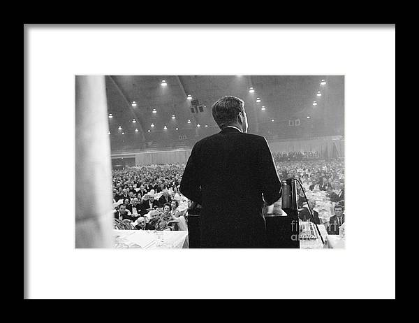 People Framed Print featuring the photograph Jfk Speaking At Democratic Fund Raiser by Bettmann