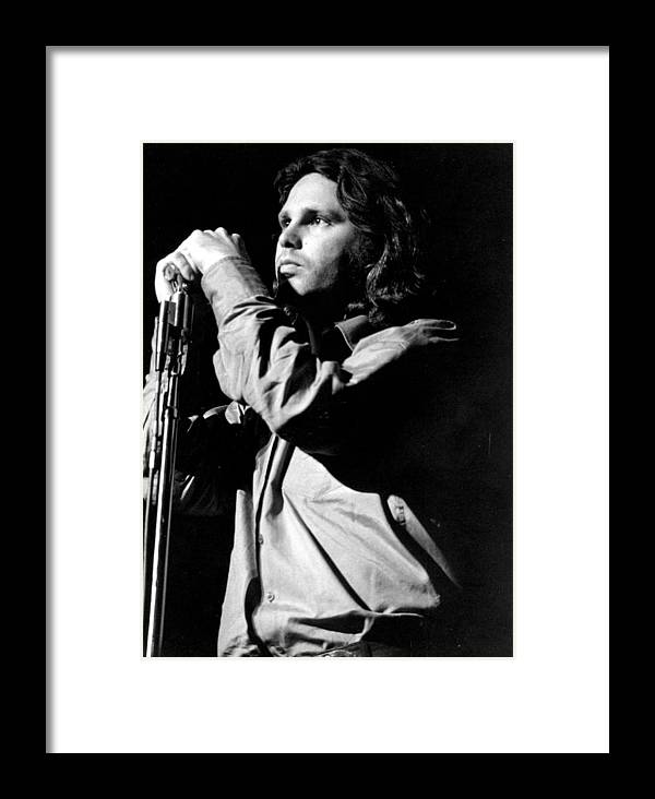 Performance Framed Print featuring the photograph Jim Morrison by Tom Copi