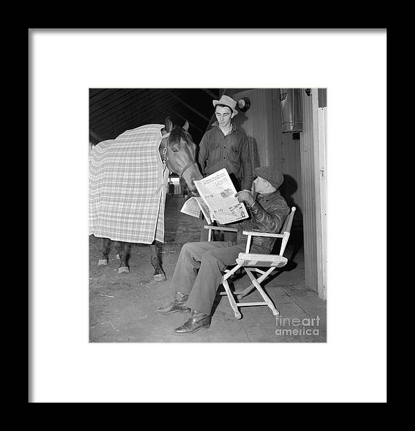 People Framed Print featuring the photograph Jockey Red Pollard And Seabiscuit by Bettmann