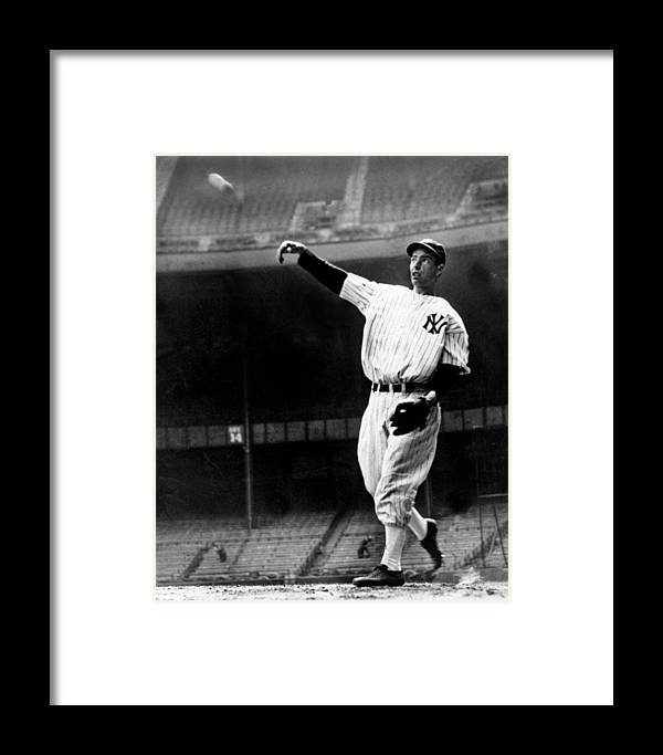 People Framed Print featuring the photograph Joe Dimaggio Working Out At Yankee by New York Daily News Archive