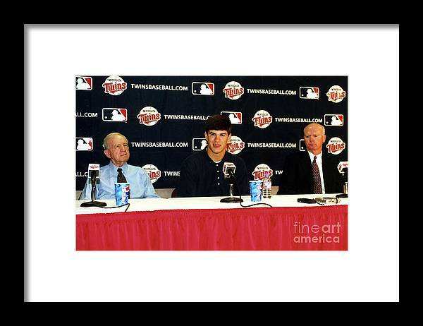 Hubert H. Humphrey Metrodome Framed Print featuring the photograph Joe Mauer Press Conference by Mlb Photos