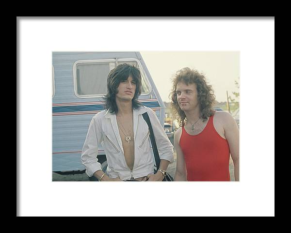 People Framed Print featuring the photograph Joe Perry And Joey Kramer Of Aerosmith by Fin Costello