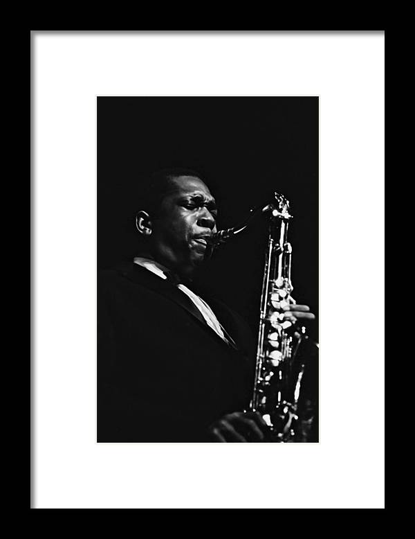 Concert Framed Print featuring the photograph John Coltrane In Paris, France In 1960 - by Herve Gloaguen