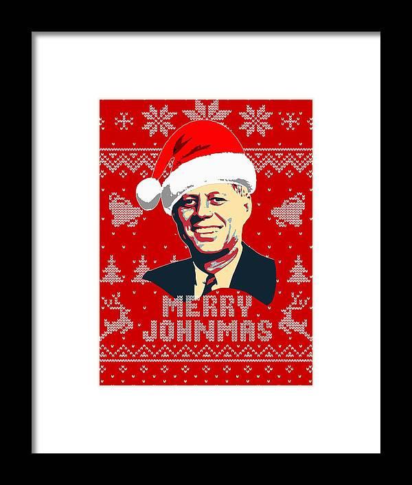 Santa Framed Print featuring the digital art John F Kennedy Merry Johnmas by Filip Hellman