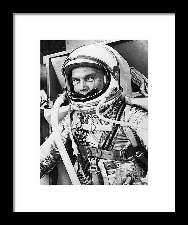 Headwear Framed Print featuring the photograph John Glenn In A Spacesuit Before Takeoff by Bettmann