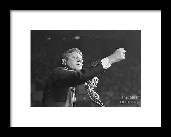 Nominee Framed Print featuring the photograph John Kennedy Clenching His Fist by Bettmann