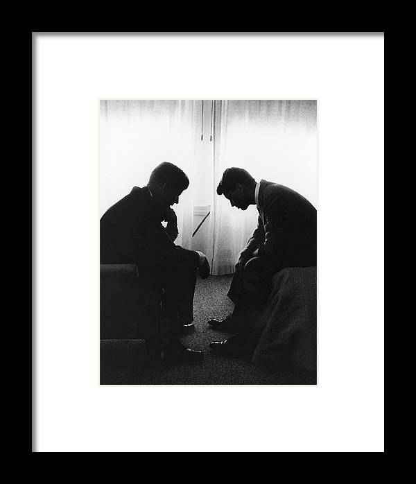 Timeincown Framed Print featuring the photograph John Kennedy Confers With Robert Kennedy by Hank Walker