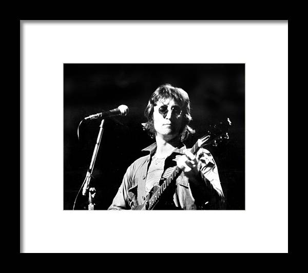 Usa Framed Print featuring the photograph John Lennon. Performing At Th One To by New York Daily News Archive