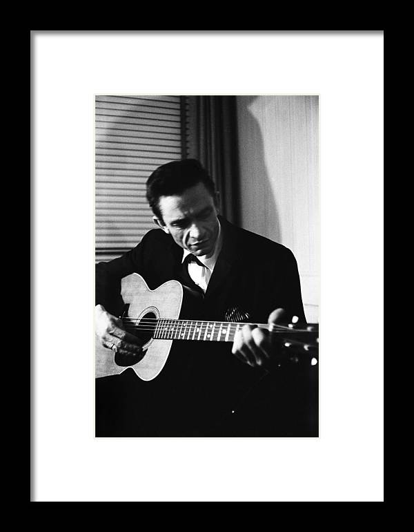Singer Framed Print featuring the photograph Johnny Cash At The New York Folk by Michael Ochs Archives