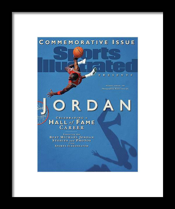 1980-1989 Framed Print featuring the photograph Jordan Celebrating A Hall Of Fame Career Sports Illustrated Cover by Sports Illustrated