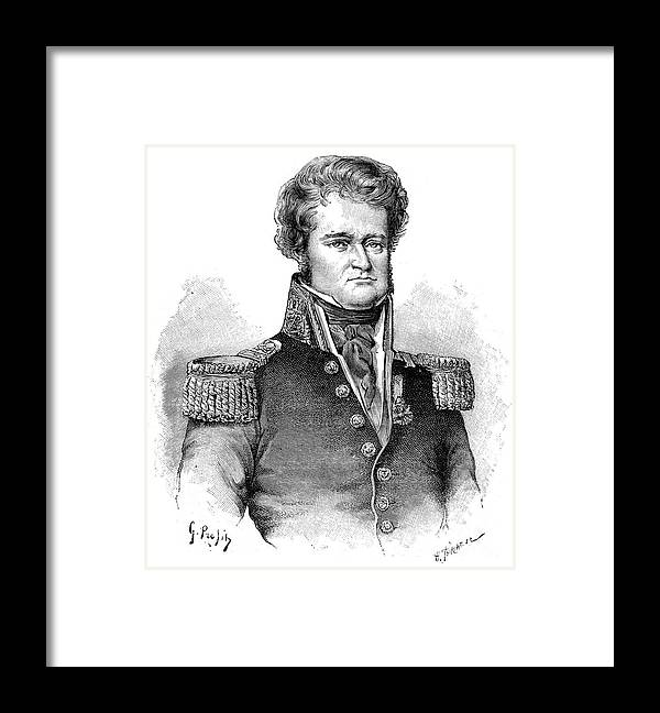 Engraving Framed Print featuring the drawing Jules Dumont Durville, French Explorer by Print Collector